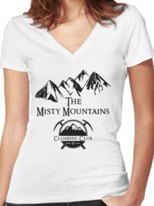 Misty Mountains Climbing Club, LOTR Parody  Women's Fitted V-Neck T-Shirt