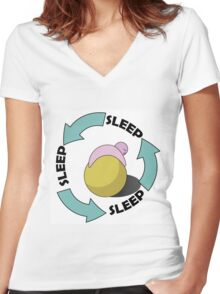 Lazy Geek Logo Women's Fitted V-Neck T-Shirt