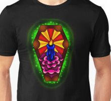 Neo-Traditional Tattoo Style Coffin, Light Rays, and Rose Unisex T-Shirt
