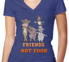 FRIEND'S NOT FOOD Women's Fitted V-Neck T-Shirt