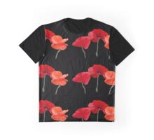 Beautiful red poppy flowers photo art in black background. Graphic T-Shirt