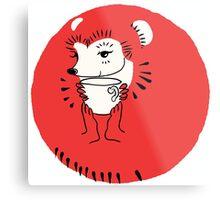 Tea Time for Hedgehog Metal Print
