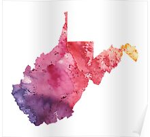 Watercolor Map of West Virginia, USA in Orange, Red and Purple - Giclee Print of my Own Painting Poster