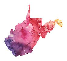 Watercolor Map of West Virginia, USA in Orange, Red and Purple - Giclee Print of my Own Painting Photographic Print