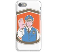 Traffic Policeman Hand Stop Sign Shield Cartoon iPhone Case/Skin