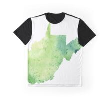 Watercolor Map of West Virginia, USA in Green - Giclee Print My Own Watercolor Painting Graphic T-Shirt