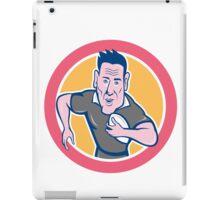 Rugby Player Running Charging Circle Cartoon iPad Case/Skin