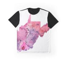 Watercolor Map of West Virginia,USA in Pink and Purple - Giclee Print of My Own Watercolor Painting Graphic T-Shirt