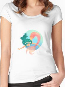 Green haired Mermaid Women's Fitted Scoop T-Shirt