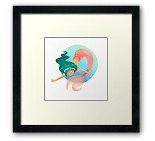 Green haired Mermaid Framed Print