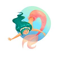 Green haired Mermaid Photographic Print