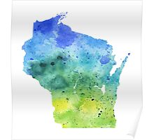 Watercolor Map of Wisconsin, USA in Blue and Green - Giclee Print of My Own Watercolor Painting Poster