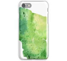 Watercolor Map of Wisconsin, USA in Green - Giclee Print My Own Watercolor Painting iPhone Case/Skin