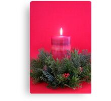 Christmas Candle and Holly Wreath Canvas Print
