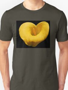 Golden Calla Lily on Black Background Unisex T-Shirt