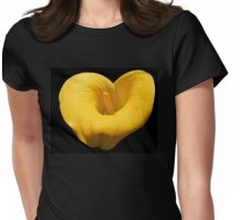 Golden Calla Lily on Black Background Womens Fitted T-Shirt