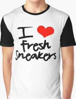 I Love Fresh Sneakers - Black Graphic T-Shirt