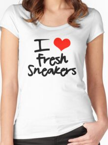I Love Fresh Sneakers - Black Women's Fitted Scoop T-Shirt