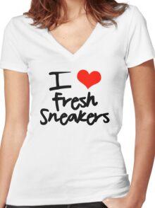 I Love Fresh Sneakers - Black Women's Fitted V-Neck T-Shirt