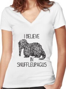 I Believe In Snuffleupagus Women's Fitted V-Neck T-Shirt