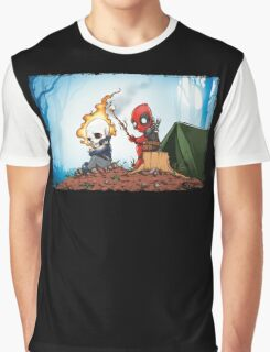 Ghostrider And Deadpool Go Camping Graphic T-Shirt