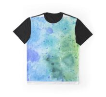 Watercolor Map of Wyoming, USA in Blue and Green - Giclee Print of My Own Watercolor Painting Graphic T-Shirt