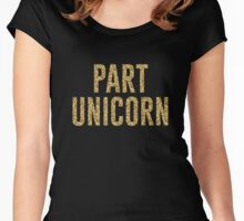 Part Unicorn Glittery Women's Fitted Scoop T-Shirt