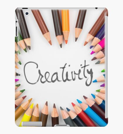 Colouring pencils in circle arrangement with message Creativity iPad Case/Skin
