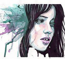 Abby Lee Kershaw in purple & green watercolour by Shani Ghosh