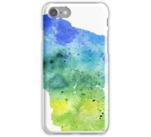 Watercolor Map of Wisconsin, USA in Blue and Green - Giclee Print of My Own Watercolor Painting iPhone Case/Skin