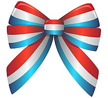 Red White and Blue Ribbon Photographic Print