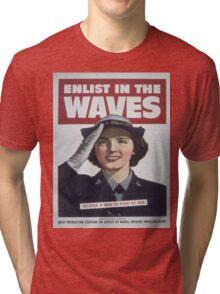Vintage poster - Enlist in the Waves Tri-blend T-Shirt