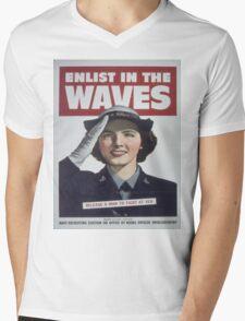 Vintage poster - Enlist in the Waves Mens V-Neck T-Shirt