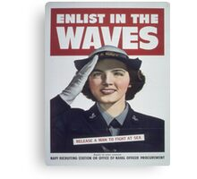 Vintage poster - Enlist in the Waves Canvas Print