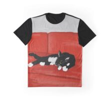 Cat on a Red Couch Graphic T-Shirt
