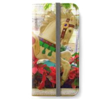 Galloping Carousel Pony and Red Flowers iPhone Wallet/Case/Skin