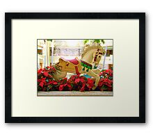 Galloping Carousel Pony and Red Flowers Framed Print
