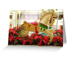 Galloping Carousel Pony and Red Flowers Greeting Card