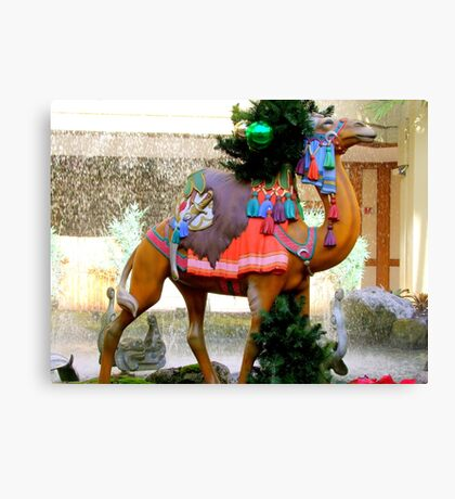 A Carousel Camel Decorated for Christmas Canvas Print