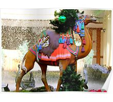 A Carousel Camel Decorated for Christmas Poster