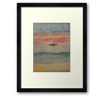 Ship on A Watercolor Sea Framed Print