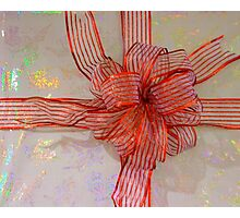 A Shiny Red Christmas Bow Photographic Print