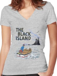 tintin the black island Women's Fitted V-Neck T-Shirt