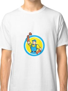 Super Plumber With Plunger Circle Cartoon Classic T-Shirt