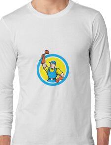 Super Plumber With Plunger Circle Cartoon Long Sleeve T-Shirt