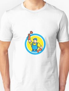 Super Plumber With Plunger Circle Cartoon T-Shirt
