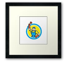 Super Plumber With Plunger Circle Cartoon Framed Print