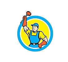 Super Plumber With Plunger Circle Cartoon Photographic Print