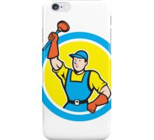 Super Plumber With Plunger Circle Cartoon iPhone Case/Skin