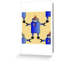 Blue Robot - Anne Winkler Greeting Card